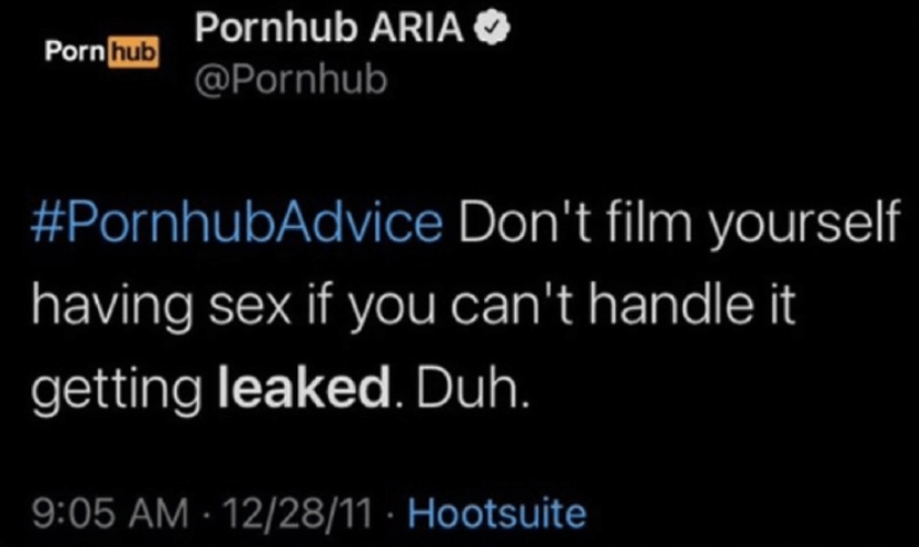 Screenshot of a tweet from PornHub